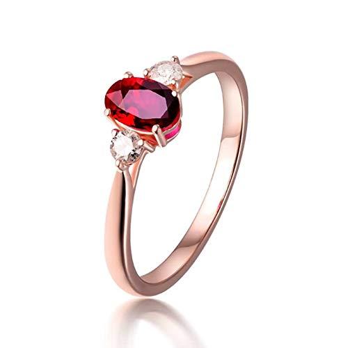 AueDsa Anillos Oro Rosa Anillos Oro Rosa 18K Mujer Oval Rubí Rojo Blanco 0.46ct Anillo Talla 16
