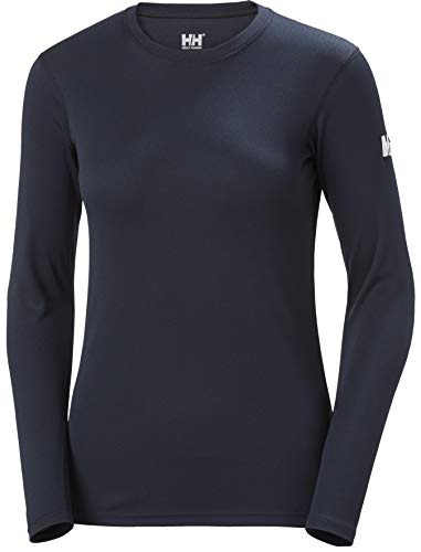 Helly Hansen W HH Tech Crew LS Camiseta Tecnica, Mujer, Navy, L