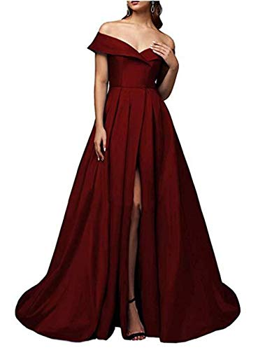 MARSEN Prom Dress Off The Shoulder Long Satin Slit Evening Ball Gowns Dresses for Women V Neck 2021 Burgundy Size 16