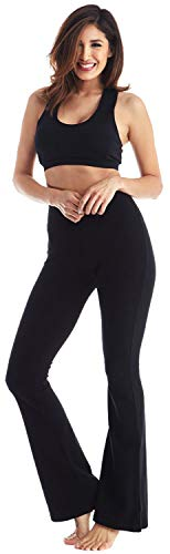 Viosi Women's 250gsm Fold Over Cotton Spandex Lounge Yoga Pants,Premium Black/Black,Medium