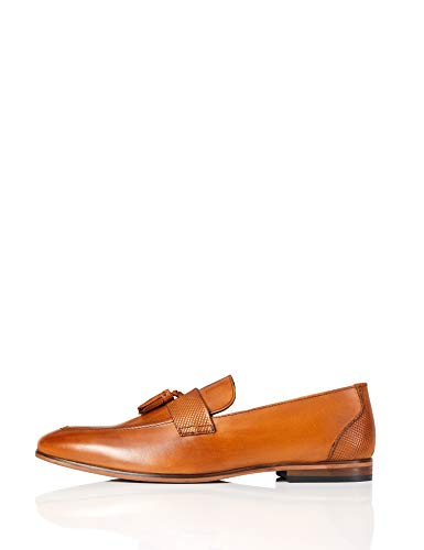 find. Men's Loafers in Leather with Built Wooden Sole, Brown (Tan), 6 UK