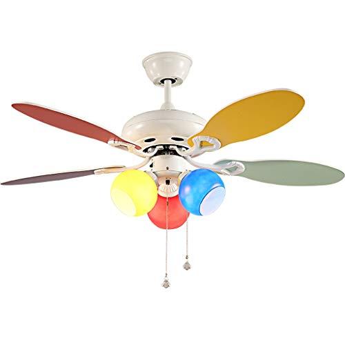 Duoer Home Plafondventilator, met lichte plafondventilatoren van hout, voor slaapkamer, plafondventilator, 42 inch, kleurrijk glas, lampenkap, plafondventilator, licht