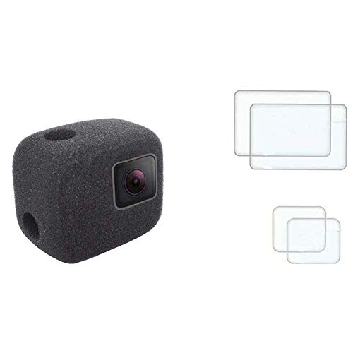 PCTC Windscreen Foam Windshield Windslayer Housing for Gopro Hero 7 6 5 Black Case Cover + 2 LCD Screen Protector 2 Lens Protector Reduces Wind Noise for Optimal Audio Recording