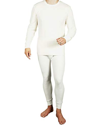 Joe Boxer Mens 2pc Thermal Underwear Set, Crew Top Shirt + Pants Bottom - Long John Set (Off White, Small)