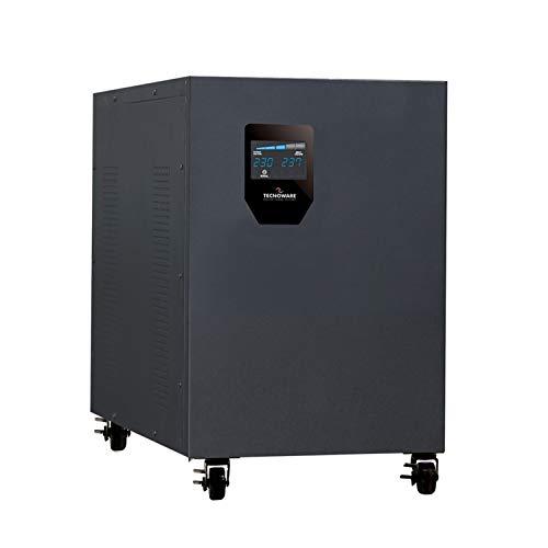Tecnoware Stabilizzatore Industrial Elettronico, Monofase 230 v da 9.0 kva, Forma d'Onda Sinusoidale, Stabilizzatore di Tensione, Nero