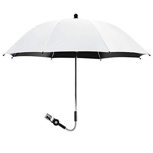 CMTTOME Sombrilla para silla de paseo universal, protección anti-UV, paraguas portátil ajustable para día soleado (blanco)