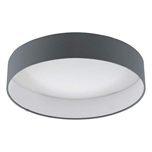 EGLO LED Deckenlampe dimmbar Palomaro 1, Deckenleuchte Stoff, Wohnzimmerlampe aus Textil, Kunststoff, Farbe: anthrazit, weiß, Ø: 40,5 cm