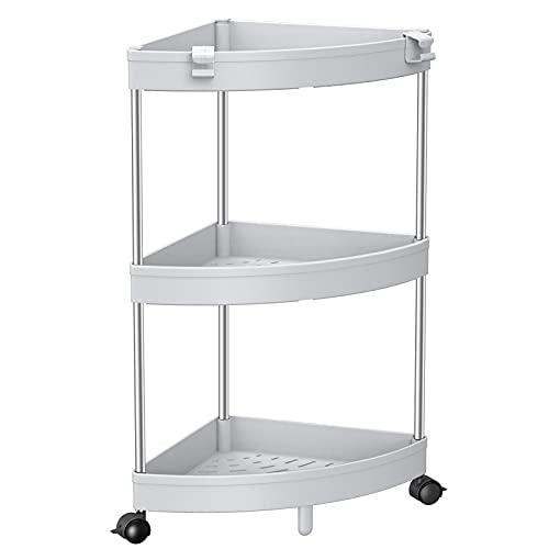 SOLEJAZZ - Estantería esquinera de 3 niveles, organizador de esquina de ducha, organizador de esquina para sala de estar, baño, espacios pequeños, color gris