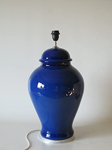 POLONIO Lampara de Ceramica Grande Salon de 42 cm Azul, E27, 60...