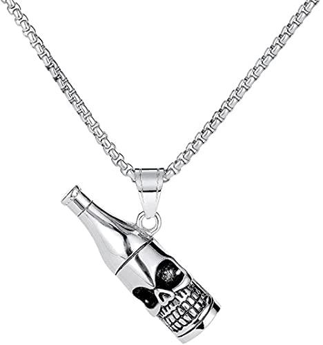 NC190 Personal Hipster Skull Botella de Vino Collar de Acero de Titanio Hip Hop Botella de Vino ahumada Colgante de Cerveza