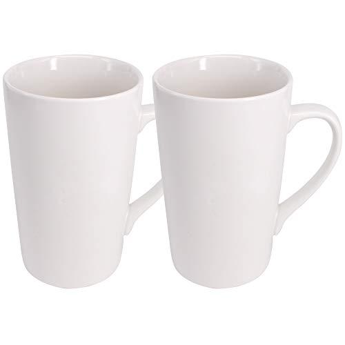 YBCPACK Porzellanbecher/Kaffeetasse/Tasse mit Henkel, groß, Weiß, Porzellan Keramik, 2 Pack 16 OZ(450ML)