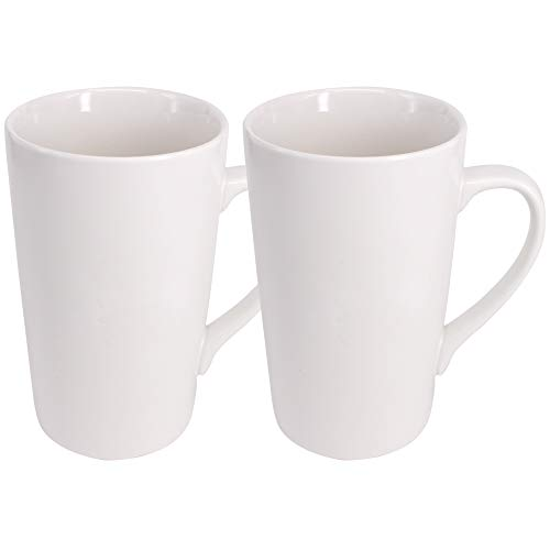 Belinlen 2 Pack 16 OZ Coffee Cup Simple Pure White Ceramic Cup Plain Large Tall White Ceramic Milk Tea Coffee Mug with Handle
