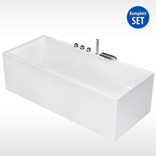 AQUADE Badewanne Komplett-Set Unterbau Ab-Überlauf und Schürzen-Set 180x80cm