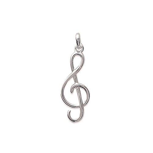 Tata Gisèle - Colgante de plata 925/000 rodiada – clave de suelo – 25 x 10 mm – Llave de suelo – Solfía Música