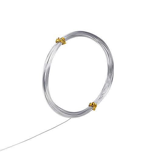 PandaHall 1 Roll 10m Fili di Alluminio Fili Gioielli, Colore Argento, 0.8mm in Diametro, 10m/ Roll