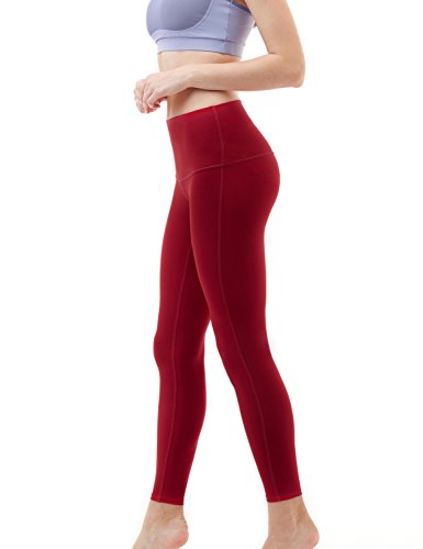 TSLA Mid/High Waist Yoga Pants with Pockets, Tummy Control Yoga Leggings, 4 Way Stretch Workout Running Tights, Ankle Thick Contour(fyp52) - Wine, X-Large