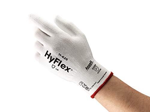 Ansell HyFlex 11-625 Schnittschutz-Handschuhe, Mechanikschutz, Weiß, Größe 7 (12 Paar pro Beutel)
