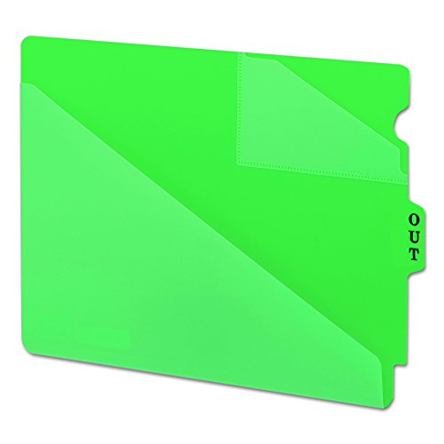 Smead 61962 Out Guides w/Diagonal-Cut Pockets, Poly, Letter, Green (Box of 50)