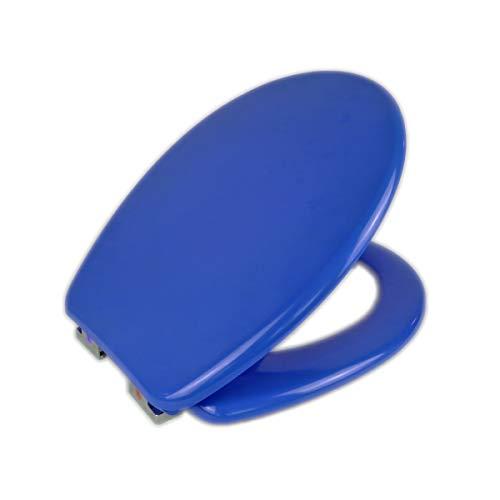 MERCURY TEXTIL - Tapa y Asiento WC Universal Cierre Suave y Bajada Lenta de Plástico Duro Tapa de Inodoro con Freno Fácil para Instalación y Desmontaje (Azul)