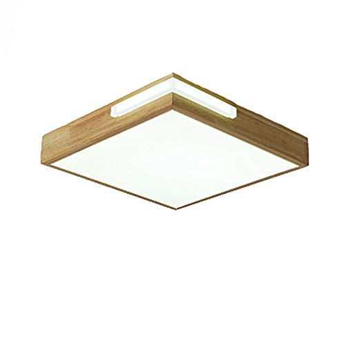 Nórdico LED Lámpara De Techo Moderno Cuadrado Madera Maciza Montaje Al Ras Plafón Accesorio Pantalla De Alta Transmitancia De Luz Pmma Plafón-Blanco. 40x40x5cm(16x16x2inch)