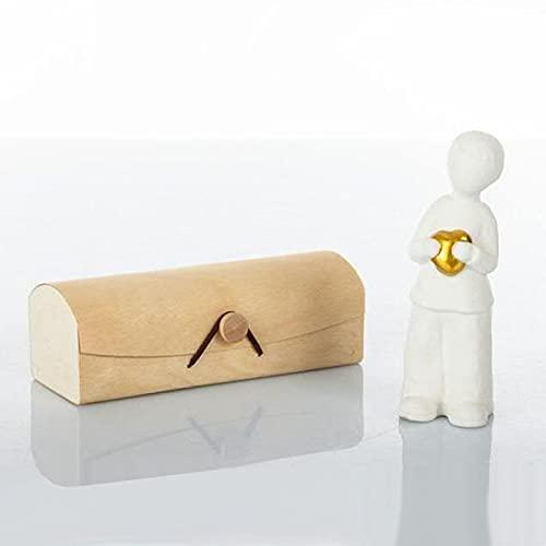 Ingrosso e Risparmio Cuorematto – Niño/niño de cerámica blanca efecto piedra con corazón dorado, bombonera solidaria comunión confirmación con caja de regalo incluida (con caja blanca)