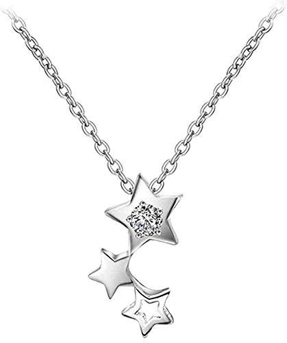 NC190 Collar brillante con colgante de estrella pequeña en color plateado para mujer color plata joyería mujer color plata colgante decoración adorno