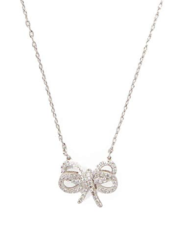 Kate Spade New York Bow Meets Girl Pave Short Mini Pendant Necklace Silver
