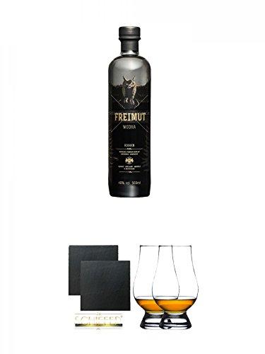 Freimut Bio Roggen Premium Wodka 0,5 Liter + Schiefer Glasuntersetzer eckig ca. 9,5 cm Ø 2 Stück + The Glencairn Glas Stölzle 2 Stück