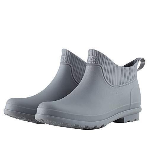 Asdfghur5 Herren Ankle Boots,Kurze Regenstiefel Flache Anti-Rutsch-Regenstiefel Für Country Boots wasserdichte Arbeitswasserschuhe,Grey-44