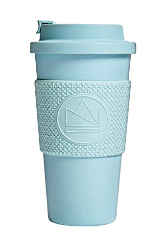 Neon Kactus 16oz/460ml | Eco Travel Mug/Reusable Coffee Cup | Made from Plants NOT Plastic - Fully Compostable | 100% Plastic Free Screw-top Leakproof Lid - Sea Breeze 16oz
