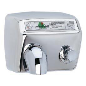A-Series World Dryer DA54-972 Push Button Hand Dryer, Polished Stainless Steel, 208-230 Volt
