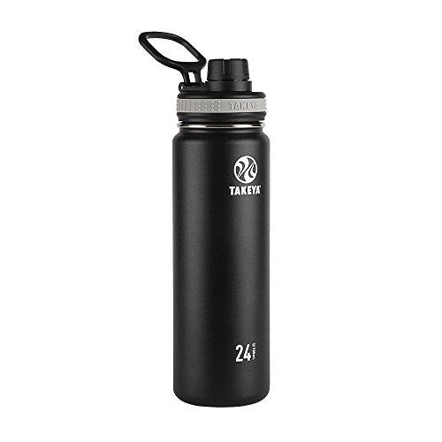 Takeya Black Originals Vacuum-Insulated Stainless-Steel Water Bottle, 24oz