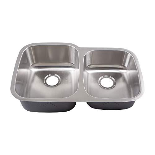 Yosemite Home Decor MAG503 18-Gauge Stainless Steel Undermount Double Bowl Kitchen Sink, Satin