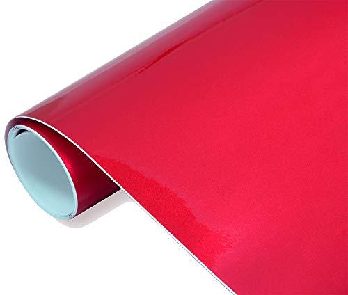 Neoxxim 24,22€/m2 Premium - Auto Folie - Hochglanz METALLIC Rot 30 x 150 cm Folie - blasenfrei mit Luftkanälen ca. 0,16mm dick selbstklebend flexibel