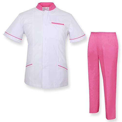 MISEMIYA - Uniforme Medica con Camice e Pantaloni - Uniformi Mediche Camice Uniformi sanitarie OSPITALITÁ - Ref.7018 - Small, Rosa