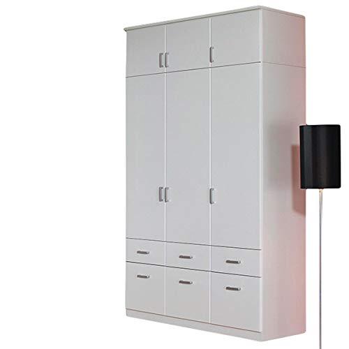 Jugendmöbel24.de Kleiderschrank weiß 3 Türen B 136 cm mit Aufsatz Schrank Drehtürenschrank Wäscheschrank Kinderzimmer Jugendzimmer Kinderzimmerschrank