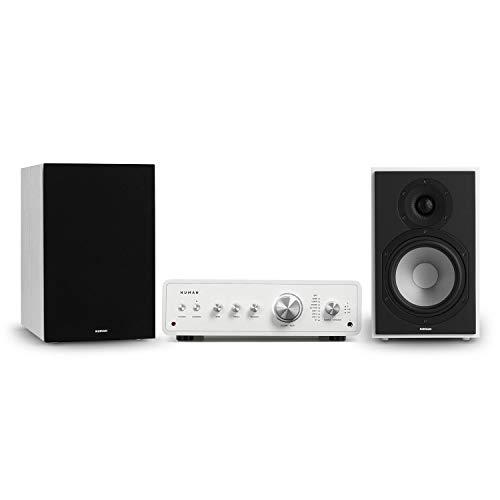 Numan Drive 802 Stereo Set - 2 Altavoces de estantería con Tapa, Amplificador HiFi Digital, 2X 170 W/ 4X 85 W RMS, Bluetooth 5.0, Mando a Distancia, Subwoofer de 2 vías de 6,5