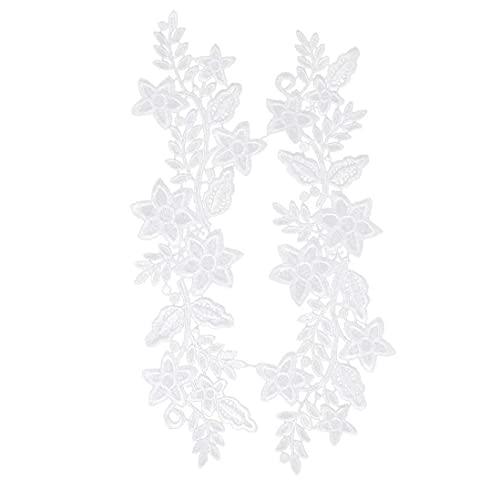 Ohomr 2 Piezas de Hermosa Flor del Bordado de Parches Escote de Encaje Hueco del Ajuste del Applique de Costura Collares DIY Crafts