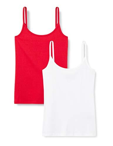 MERAKI AZJW-0029 Top, Damen, 2er-Pack, Rot/Weiß, M