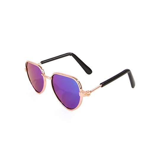 LAIYYI 1 st Mooie UV Zonnebril voor Pet Cat Puppy Kleine Hond, Mode Metalen Zonnebril voor Dress Up/Fotografie 1 E