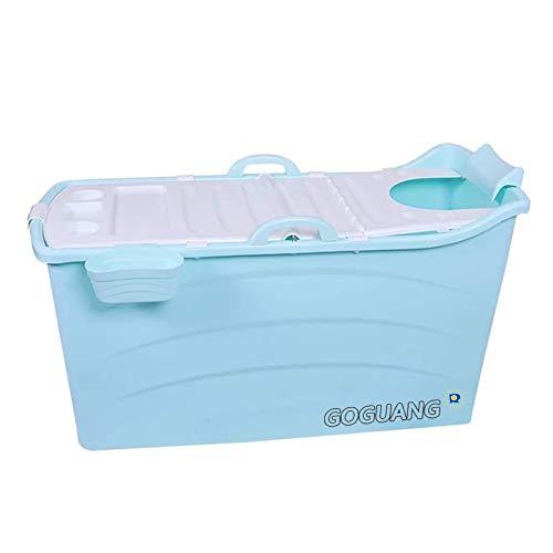 Bañeras MYANYAN Plegable Portátil Piscina Gran Cubo de Baño Independiente para Adultos y Niños Grande para el Hogar Ducha (con Cubierta), 2 Colores