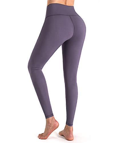 STYLEWORD Women's Leggings High Waist Naked Feeling Yoga Pants Full-Length Tummy Control Workout Running Elastic Tights(Puple Grey,S)