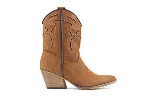 Modelisa - Botas Cowboy De Caña Media para Mujer (Cuero, Numeric_40)