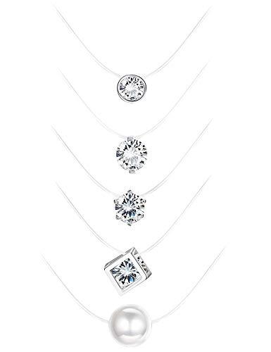 Finrezio Choker Kette Enganliegende Halskette mit Zirkonia Nylon Kette für Damen Mädchen 5 Stück