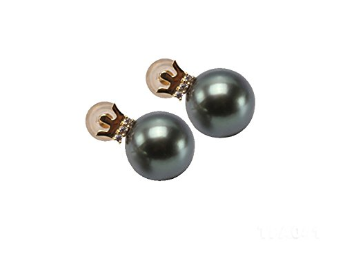 jyx 18K Gold Precious 10mm Tahiti-Perle Ohrringe