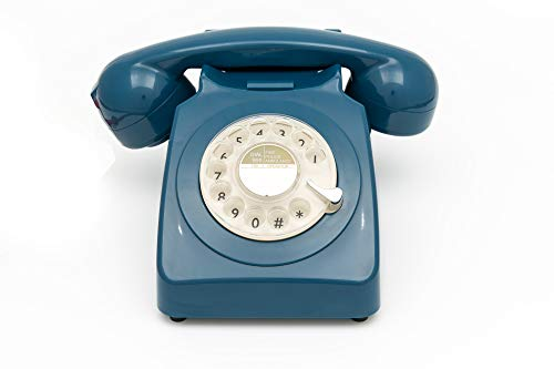 GPO 746 Rotary Retro Phone - 1970S-Style landline Telephone with Curly Cord and Authentic Bell Ring - Azure Blue