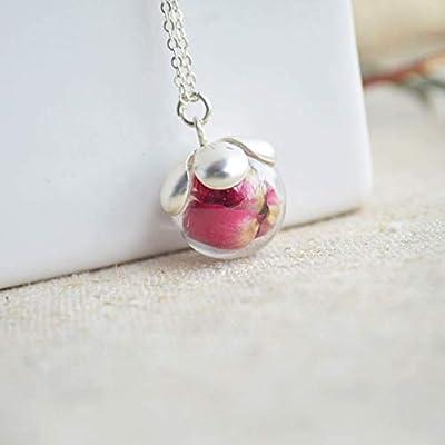 Rouge Rose Vraie Fleur Verre Boule Argent Sterling 925 Chaîne Colliers avec pendentifs Amour Romantique