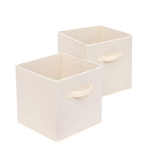 KLFD A Set of 2 Foldable Non-Woven Fabric Storage Boxes Multifunction Simple Style Organizer Containers Baskets Space-Saving Portable Cube with Handles for Home Bedroom Closet Office,Beige