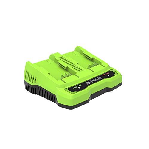 Chargeur universel de batterie Greenworks 24V à double fente G24X2C (Li-Ion 24V 48W sortie 4A tension 60 min temps de charge à 4Ah batterie adaptée à toutes les batteries 24V Greenworks)
