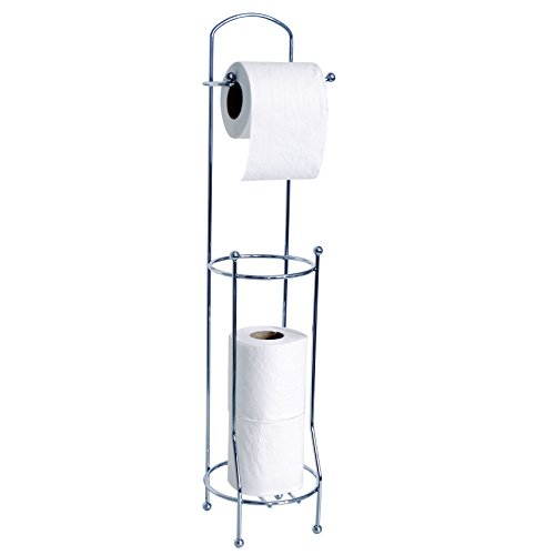 MSV WC Rollenhalter Toilettenpapierrollenhalter WC Rollen Aufbewahrung WC-Ersatzpapierrollenhalter Klopapierrollenhalter silber verchromt